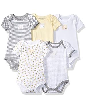 Set of 5 Essentials Short Sleeve Bodysuits, 100% Organic Cotton