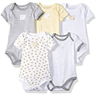 Burt's Bees Baby - Set of 5 Bee Essentials Short Sleeve Bodysuits, 100% Organ...