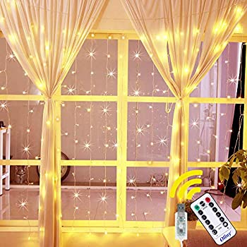 Ollny Curtain Lights 6.6ft x 6.6ft 192 LEDs Warm White Window String Fairy Lights USB Powered with 8 Modes Remote Control for Christmas Bedroom Indoor Wedding Outdoor Party Decoration NOT CONNECTABLE