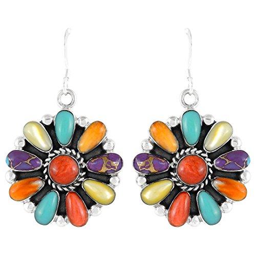 Southwest Gemstone - Turquoise Earrings Sterling Silver 925 Southwest Style Genuine Gemstones (Multi)