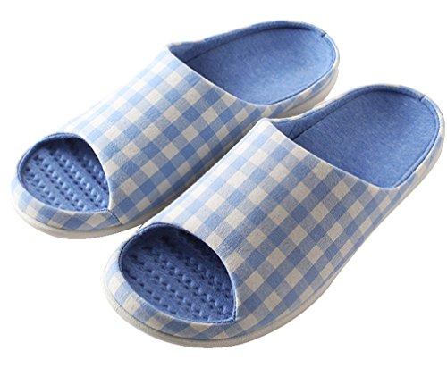 Cattior Heren Comfortabel Huis Open Teen Slippers Skidproof Indoor Spa Slipper Blauw