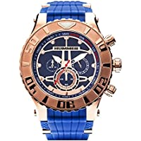 Hummer GT Chronograph Watch HU1101-104 Rose Gold Case Blue Silicone Band