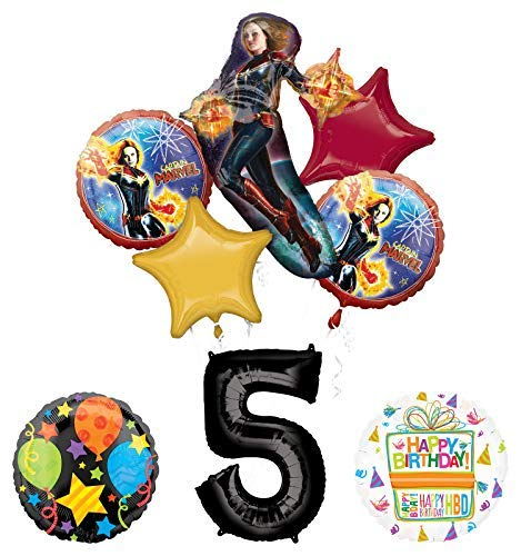Mayflower Products Captain Marvel 5th Birthday Party Supplies Jubilee Balloon Bouquet Decorations