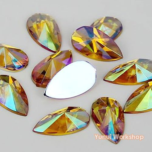 Face Teardrop - (Yellow AB, 8mm x 13mm, 200pcs) Teardrop Shape Pointed Face Acrylic Flat Back Rhinestones Cabochons Deco Scrapbooking Nail Craft - Iridescent