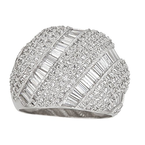 Sterling Silver Rhodium Round&Baguette Cut Dome Cubic Zirconia Ring,5 (Pave Set Ring Dome)
