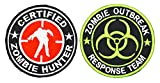"""Set of 2 Dia 3"""" Certified Zombie Hunter Tactical Patch Velcro Hook Backing & Dia 3 1/8"""" Zombie Outbreak Response Team Logo Badge Iron on Embroidered Patch"""