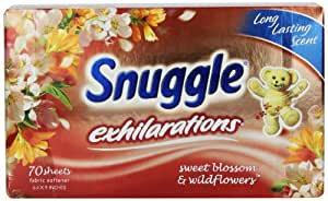 Snuggle Exhilarations Fabric Softener Dryer Sheets, Sweet Blossom & Wildflowers, 70-Count