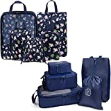 Packing Cubes (2 Sets/10 Piece)- JB Compression Suitcase Organizer+ Laundry and Shoe Bag| Heavy-Duty Zippers,Oxford Fabric,Mesh Top+ Handle-Space Saver Travel Luggage Accessory (Navy Flamingo/Indigo)