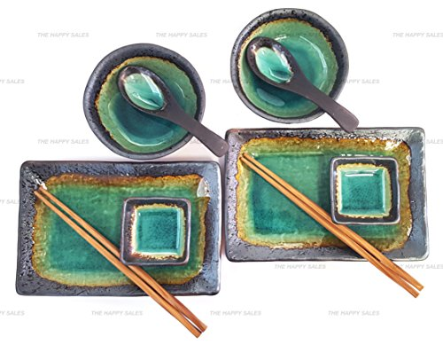 - Happy Sales 10 Piece Japanese Sushi Plate Dinnerware Set, Turquoise Kosui Green