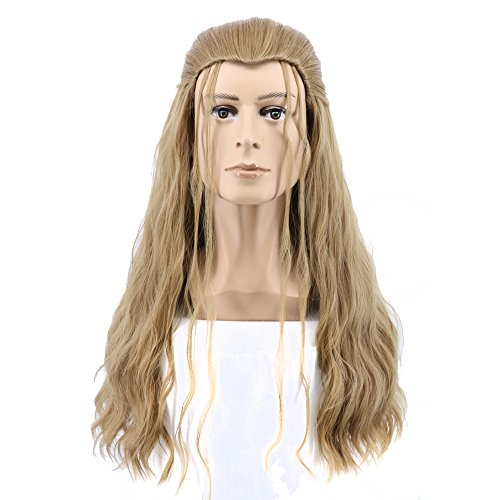 Yuehong Long Blonde Curly Soft Wig With Braid For Cosplay Halloween Costume Party Wigs