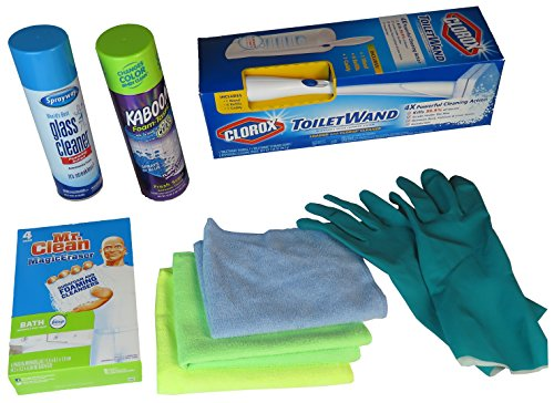 Bathroom Cleaning Supplies All In One Kit For Bathtubs, Floors, Mirror, Sink and Toilets.