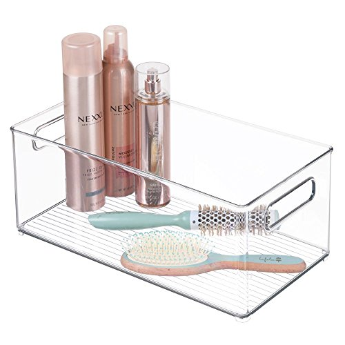 mDesign Stackable Deep Plastic Storage Bin Tote with Handles for Organizing Cosmetics, Makeup Palettes, Body Wash, First Aid, Vitamins, Supplements, Hair Styling Accessories - Clear