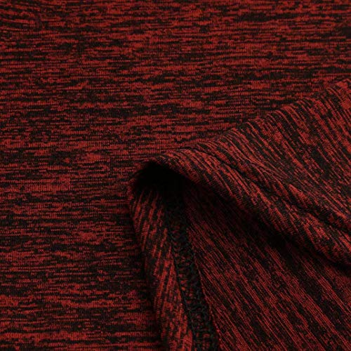 Manches Unie S Size Vin Femmes Elecenty Rouge Plus RounLong 5XL Tops Couleur Shirt Blouse Pull xwYFnUIq