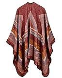 Women Poncho Scarf Cardigan Sweater Geometrical Striped Warm Cape Shawl Long Scarves Outwear Red