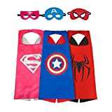 Asgift Cartoon Costume 3Pcs Satin Capes with Felt Masks Costumes for Kids