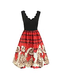 UNBRUVO Dress Women Sleeveless Christmas Cats Musical Notes Vintage Flare Dress