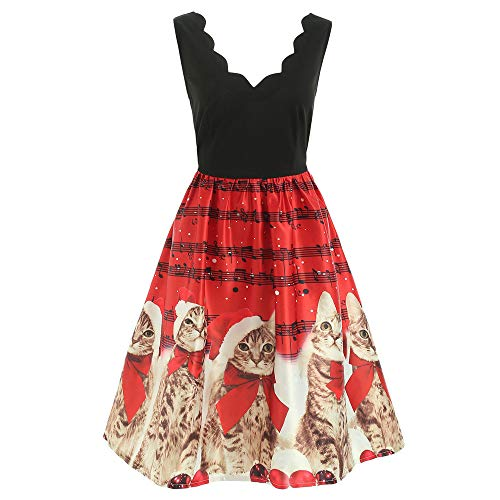 Women Fashion Sleeveless Christmas Cats Musical Notes Print Vintage Flare Dress ()
