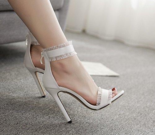 sandales 2018 bout clair 36 talons respirant mode parti Bleu chaussures sexy d'été casual nouvelles bleu hauts Taille denim Blanc ouvert 11CM blanc élégant Color sandales chaussures à 7Tw4wZ1n