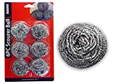 SCOURER BALL STEEL 6PC SILVER , Case of 96