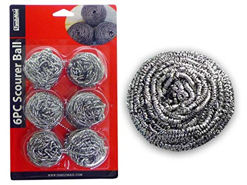 SCOURER BALL STEEL 6PC SILVER , Case of 96 by DollarItemDirect