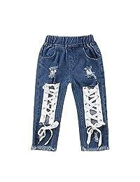TOBABYFAT Baby Pants Boy Girl Short Jeans Ripped Skinny Frayed Denim Pants