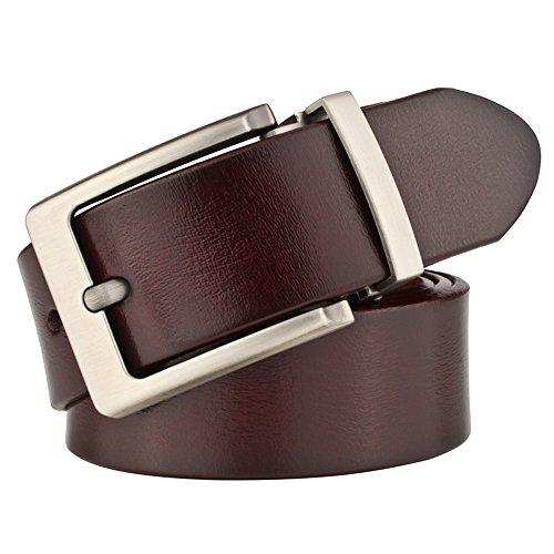 JingHao A23 Mens Belts vintage pin buckle Belt cow Leather Belt All Size width:1.5