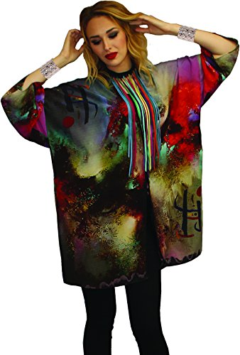 Miro Inspired Hand Painted Art Wear Silk Jacket & Scarf OS Oversized (Hand Painted Silk Jackets)