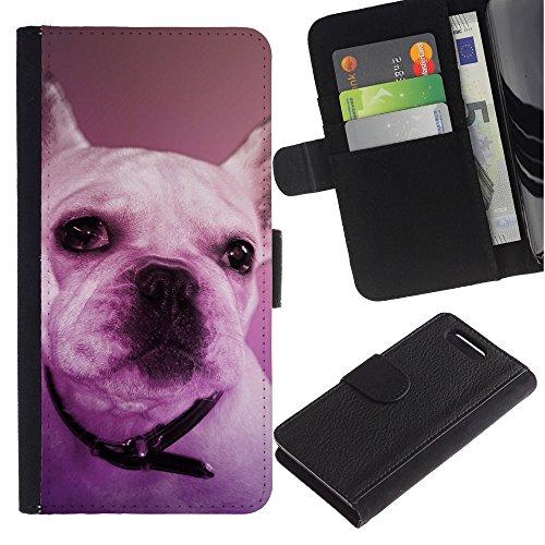 EuroCase - Sony Xperia Z1 Compact D5503 - French bulldog Boston terrier purple dog - Cuero PU Delgado caso cubierta Shell Armor Funda Case Cover
