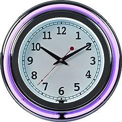 Trademark Gameroom Purple Chrome Double Ring Neon Clock, 14