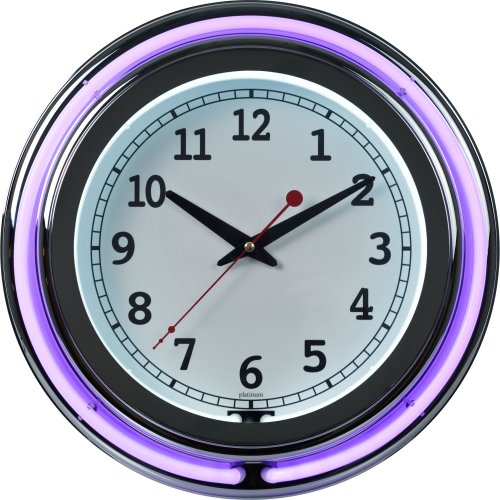 (Lavish Home Retro Neon Wall Clock - Battery Operated Wall Clock Vintage Bar Garage Kitchen Game Room - 14 Inch Round Analog (Purple and White))