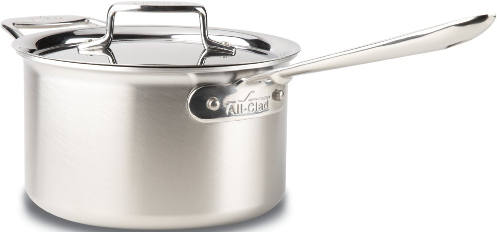 4-quart All-Clad BD55202 D5 Brushed 18 10 Stainless Steel 5-Ply Bonded Dishwasher Safe Sauce Pan Cookware, 2-Quart, Silver