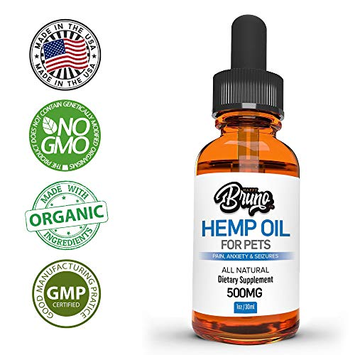 500mg Hemp Oil Dogs and Pets #1 Pain Relief, Seizures, Anxiety & Aggression - Organic, Natural, Dietary Supplement by Happy Bruno