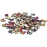 Yiteng ビーズ アクセサリーパーツ 縫製 かわいい ボタン 手芸材料 工芸品 印刷 蝶のボタン バタフライボタン 28x21x3mm 50pcs