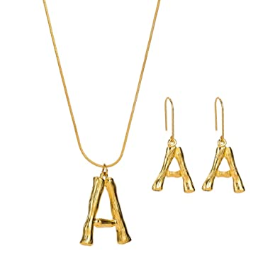 jrui a initial necklace earrings set gold big letter script name pendant monogram necklace for women