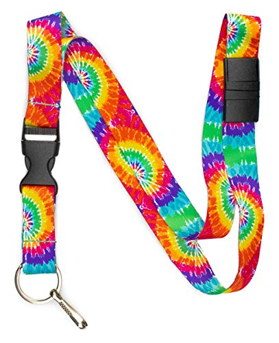 - Limeloot Tie Dye Premium Lanyard with Breakaway, Release Buckle, and Flat Ring.