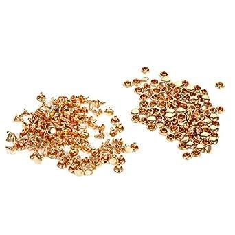 Rivet 3 Colors 100Sets 8 x 8mm Double Cap Rivet Metal Leather Craft Repairs Studs Spike Decoration Gold