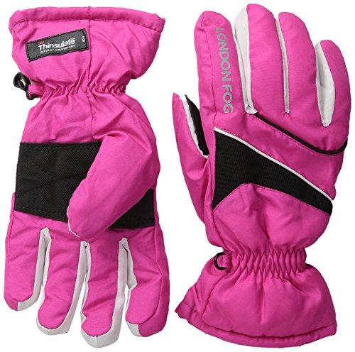 London Fog Big Girls' Ski Gloves, Pink, 7-14 (Accented Piping Trim)