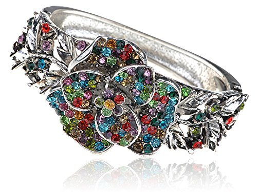 - Alilang Silver Tone Rainbow Multicolor Crystal Rhinestone Floral Flower Rose Bracelet Bangle Cuff