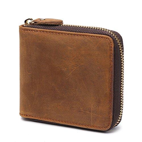 Huztencor Zipper Wallet Men Leather RFID Blocking Wallets for Men with ID Card Window Secure Zip Around Bifold Wallets Brown(FBA)