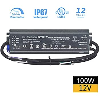 12vdc 100w Ul Listed 0 10v Amp Triac Dimmable Waterproof Ip67