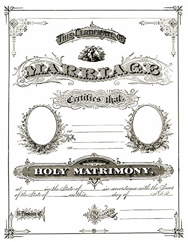 Blank Marriage Certificate : Vintage : Add your own information and - Certificate Resolution