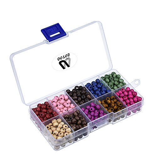 Outus 700 Pieces 6 mm Round Wood Beads with Box for Jewelry Making, Assorted Colors