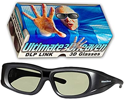 Ultra-Clear HD 144 Hz DLP LINK 3D Active Rechargeable Shutter Glasses for All 3D DLP Projectors - BenQ, Optoma, Dell, Mitsubishi, Samsung, Acer, Vivitek, NEC, Sharp, ViewSonic & Endless Others!