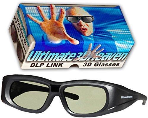 Ultra-Clear HD 144 Hz DLP LINK 3D Active Rechargeable Shutter Glasses for All 3D DLP Projectors - BenQ, Optoma, Dell, Mitsubishi, Samsung, Acer, Vivitek, NEC, Sharp, ViewSonic & Endless Others! by 3DHeaven