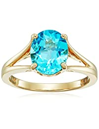 10k Yellow Gold Oval Swiss Blue Topaz Ring, Size 7