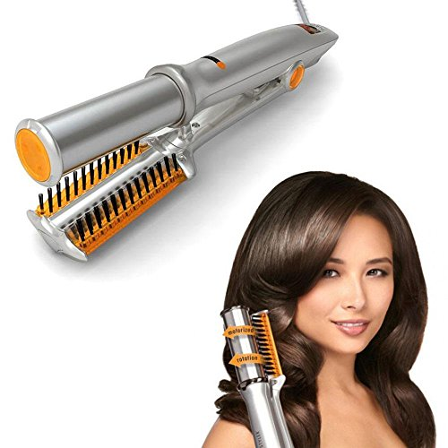 (2 In 1 Hair Curler And Straightener, Ceramic Curling Iron Thermostat Dry And Wet Hairbrush Rotating Iron Curling Tongs Hairdressing Tool)