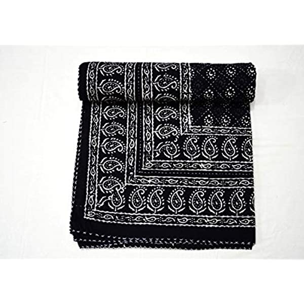 White Yuvancrafts Indian Handmade Cotton Kantha Quilt Traditional Hand Block Print Twin Quilt Blanket Bedspreads Throw
