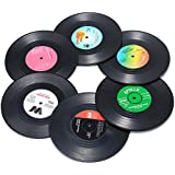 Funny Drink Coasters, 6 Pieces Vinyl Record Disk Coasters, Effective Protection of the Desktop to Prevent Damage- 4.1 Inch Size by ZAYAD