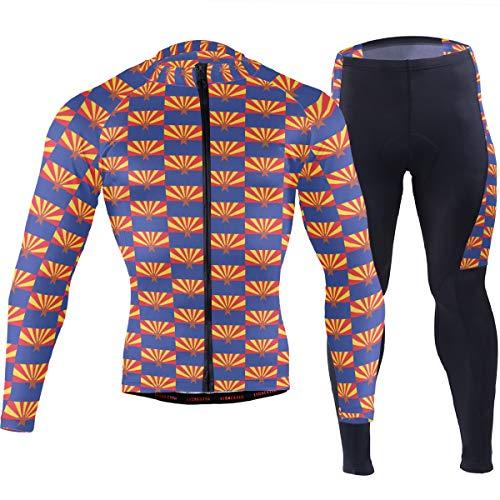 Arizona Flag Pattern Men's Cycling Jersey Set Breathable Quick-Dry MTB Road Bike Luxury Black