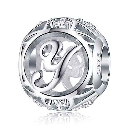 - FOREVER QUEEN Letter Charm Initial A-Z Alphabet Charm Dangle Charm for Bracelet Necklace, 925 Sterling Silver CZ Beads Charm Personalized Jewelry Gift for Men Women Girls Birthday Valentine's Day (Y)
